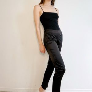 Vintage Black Silky Satin Mid Rise Fitted Pants